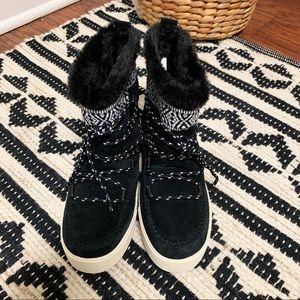 TOMS Black Suede Alpine Boots